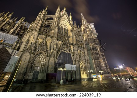 Cologne, Germany, the Dome at Night.Wide angle. - stock photo