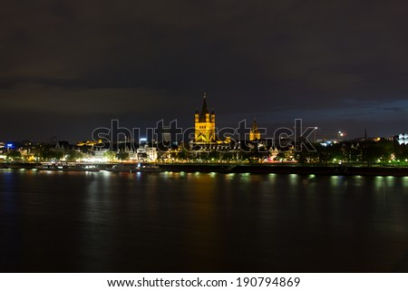 Cologne on the Rhine river at night,Germany - stock photo