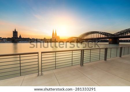 Cologne Rhine Boulevard at sunset - stock photo