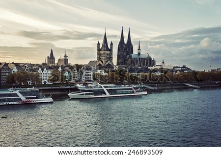 Cologne skyline Cologne Cathedral. Cologne, North Rhine-Westphalia, Germany - stock photo