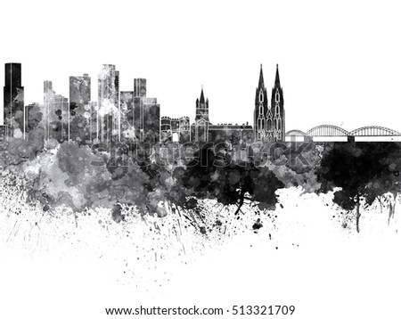 Cologne skyline in black watercolor on white background
