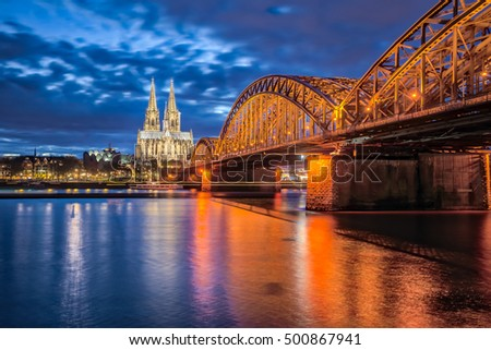 Cologne Skyline, The Cologne Cathedral at night in Cologne, Germany.
