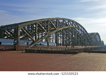 Cologne. The well-known railway bridge through the river Rhine