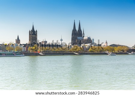 cologne with Cathedral and groos st. martin at the rhine river