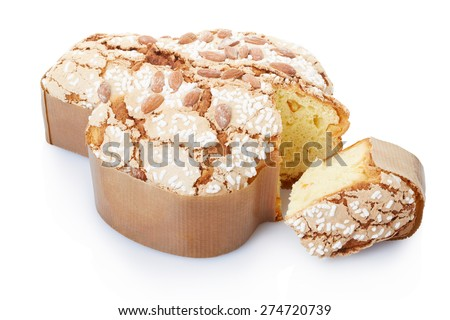 Colomba, italian Easter cake in fom of a dove with slice on white, clipping path included - stock photo
