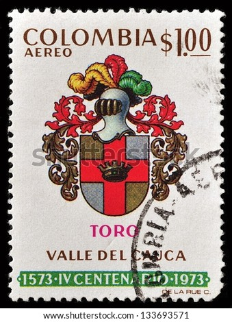 COLOMBIA - CIRCA 1973: A Stamp printed in Colombia showing the armor of the Colombian cavalry, circa 1973 - stock photo