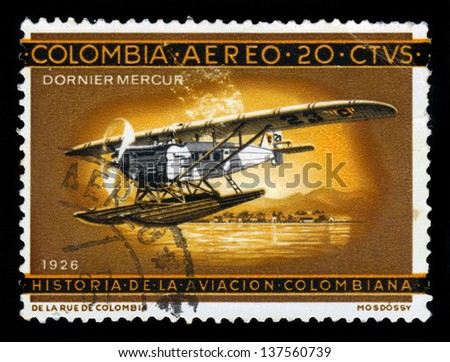 COLOMBIA - CIRCA 1962: A stamp printed in Colombia shows aircraft Dornier Merkur, flying boat, circa 1962 - stock photo