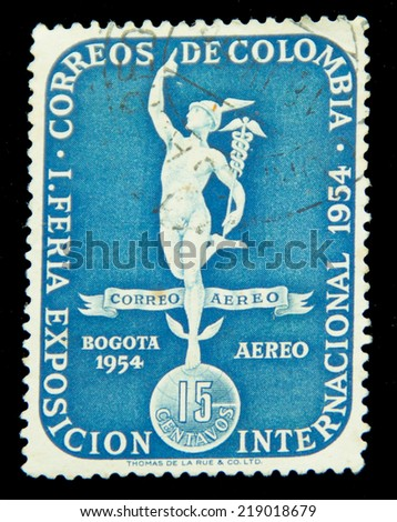 COLOMBIA - CIRCA 1954: A stamp printed in Colombia, shows Bolivar monument, circa 1954 - stock photo