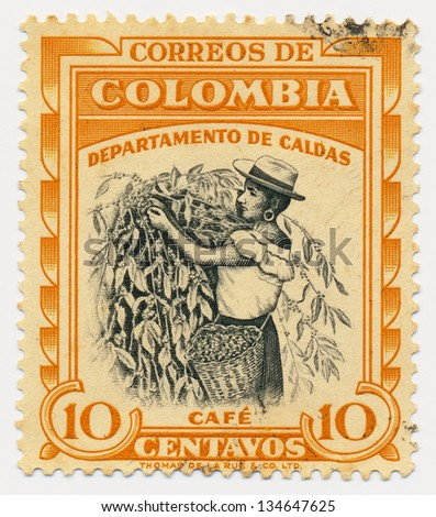 COLOMBIA - CIRCA 1956: A stamp printed in Colombia, shows Coffee picker, Caldas, circa 1956 - stock photo