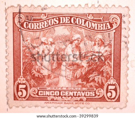 COLOMBIA - CIRCA 1932: A stamp printed in Colombia shows image of women collecting coffee beans, series, circa 1932 - stock photo