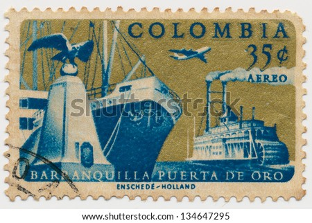COLOMBIA - CIRCA 1961: A stamp printed in Colombia, shows Old and New Ships of Barranquilla, circa 1961 - stock photo