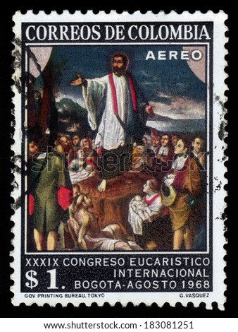 COLOMBIA  - CIRCA 1968 A stamp printed in Colombia  shows painting of colombian painter Gregorio Vasquez, St. Francis Xavier preaching, the 39th Eucharistic Congress in Bogota, circa 1968 - stock photo