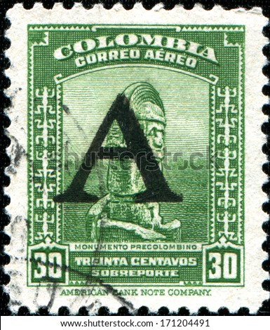 COLOMBIA - CIRCA 1941: A stamp printed in Colombia shows Pre-Columbian monuments - stock photo