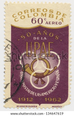 COLOMBIA - CIRCA 1962: A stamp printed in Colombia, shows Union of the Americas and Spain, UPAE, circa 1962 - stock photo