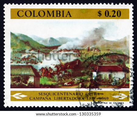 COLOMBIA - CIRCA 1969: a stamp printed in the Colombia shows Battle of Boyaca, Detail, by Jose Maria Espinosa, Fight for Independence, circa 1969 - stock photo