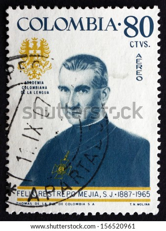 COLOMBIA - CIRCA 1967: a stamp printed in the Colombia shows Father Felix Restrepo Mejia, Theologian, Scholar, Portrait, circa 1967