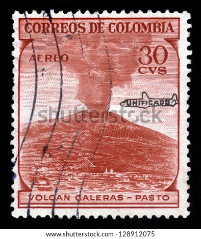 COLOMBIA - CIRCA 1954: a stamp printed in the Colombia shows Galeras Volcano, andean stratovolcano in Colombia, circa 1954 - stock photo