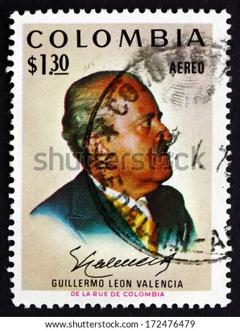 COLOMBIA - CIRCA 1972: a stamp printed in the Colombia, shows Guillermo Leon Valencia Munoz, 21st President of Colombia from1962 to 1966, circa 1972 - stock photo