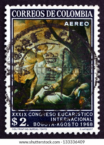 COLOMBIA - CIRCA 1968: a stamp printed in the Colombia shows The Dream of the Prophet Elias, by Gregorio Vasquez, 39th Eucharistic Congress, Bogota, circa 1968 - stock photo