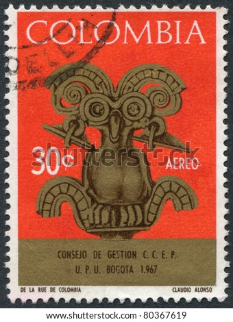 COLOMBIA - CIRCA 1967: A stamp printed in the Columbia, is depicted Bird pectoral, circa 1967 - stock photo