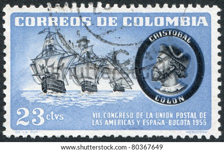 COLOMBIA - CIRCA 1955: A stamp printed in the Columbia, is depicted Caravels and Columbus, circa 1955
