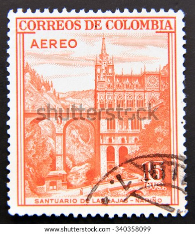 COLOMBIA - CIRCA 1954: A stamp shows Santuario de las Lajas, Narino - stock photo
