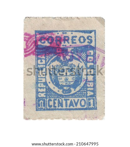 COLOMBIA - CIRCA 1898: Postage stamps of Colombia, circa 1898 - stock photo
