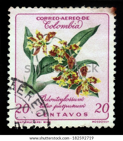 Colombia - CIRCA 1960: stamp printed by Colombia, shows flower of orchid, odontoglossum,  circa 1960 - stock photo