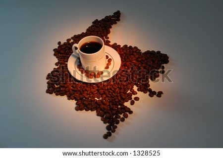 Colombia Coffee Map - stock photo