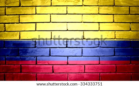 Colombia  Flag on a brick wall background