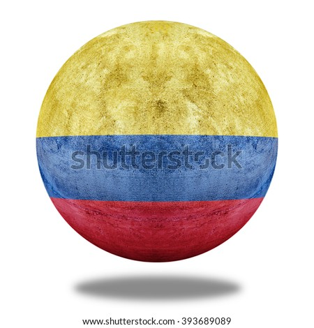 Colombia flag pattern on stone circle shape texture - stock photo