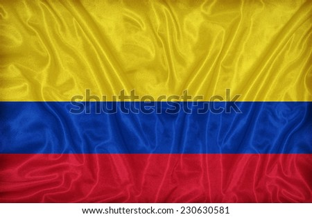 Colombia flag pattern on the fabric texture ,vintage style - stock photo