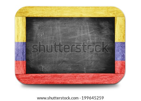 Colombia flag soccer 2014 framed of Small chalkboard  - stock photo