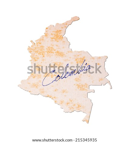Colombia - Old paper with handwriting, blue ink - stock photo
