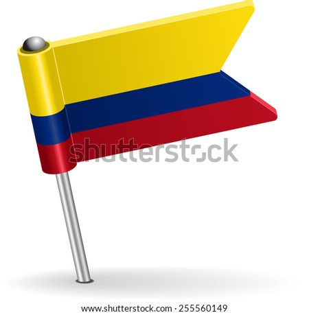 Colombia pin icon flag. Raster version - stock photo