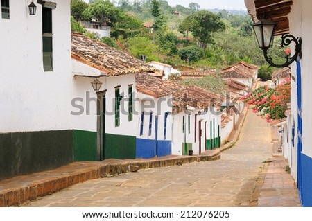 Colombia, Santander, Small street in the colonial village of Barichara, near San Gil - stock photo