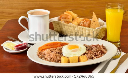 Colombian cuisine. Calentado brunch. - stock photo