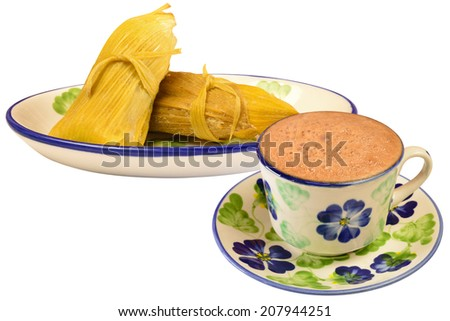 Colombian cuisine. Hot chocolate with envueltos of corn. - stock photo