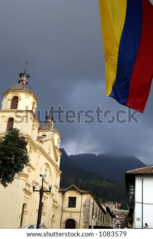 Colombian Flag. Church. Bogota. Colombia. - stock photo