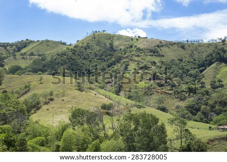 Colombian landscape montoñoso - stock photo