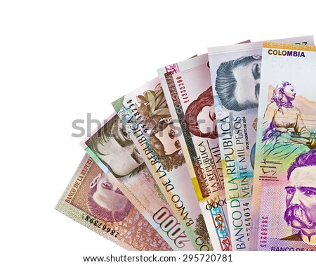 Colombian Peso Bills Background - stock photo