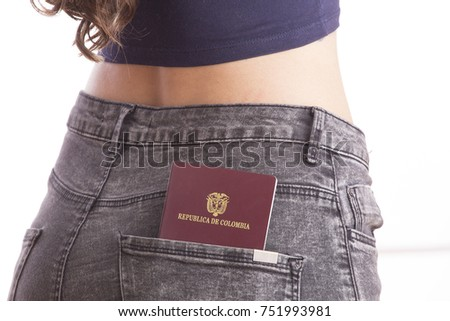 Colombian woman with passport