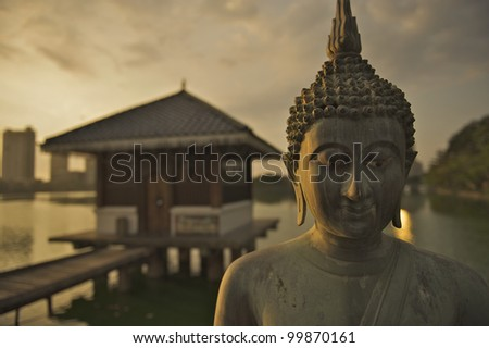 Colombo, Sri Lanka - The Seema Malaka Temple in Colombo is situated on Beira Lake and is part of the Gangaramaya Buddhist Temple Complex - stock photo