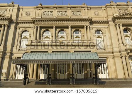 Colon Theatre facade on 9 de julio Avenue at Buenos Aires, Argentina - stock photo