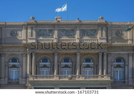 Colon Theatre facade on 9 de julio Avenue in Buenos Aires, Argentina - stock photo