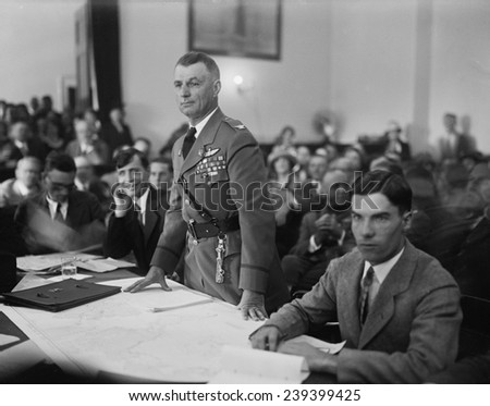 "Colonel Billy Mitchell during his September 1925 was court marshal for ""insubordination,"" criticism of the US Army for under-estimating the military potential of air power. - stock photo"