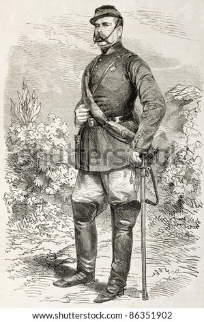 Colonel Fernando Bosco old engraved portrait, Neapolitan army. Created by Janet-Lange, published on L'Illustration, Journal Universel, Paris, 1860 - stock photo