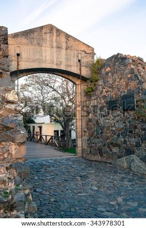 Colonia del Sacramento old town gate and walls - stock photo