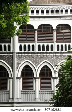 Colonial Architecture Detail in SIngapore - stock photo