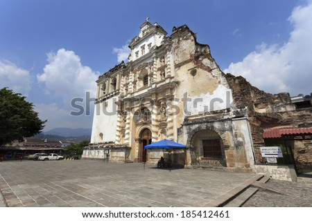 Colonial buildings in Antigua, Guatemala - stock photo